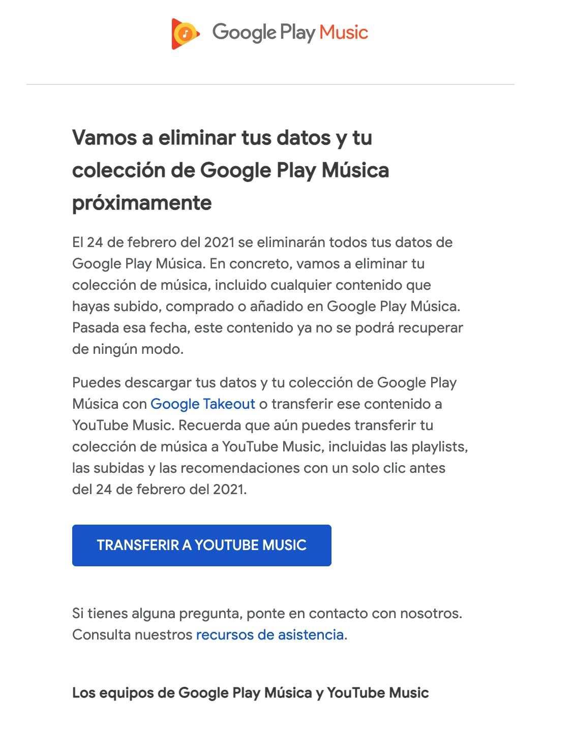 Aviso de Google Play Music