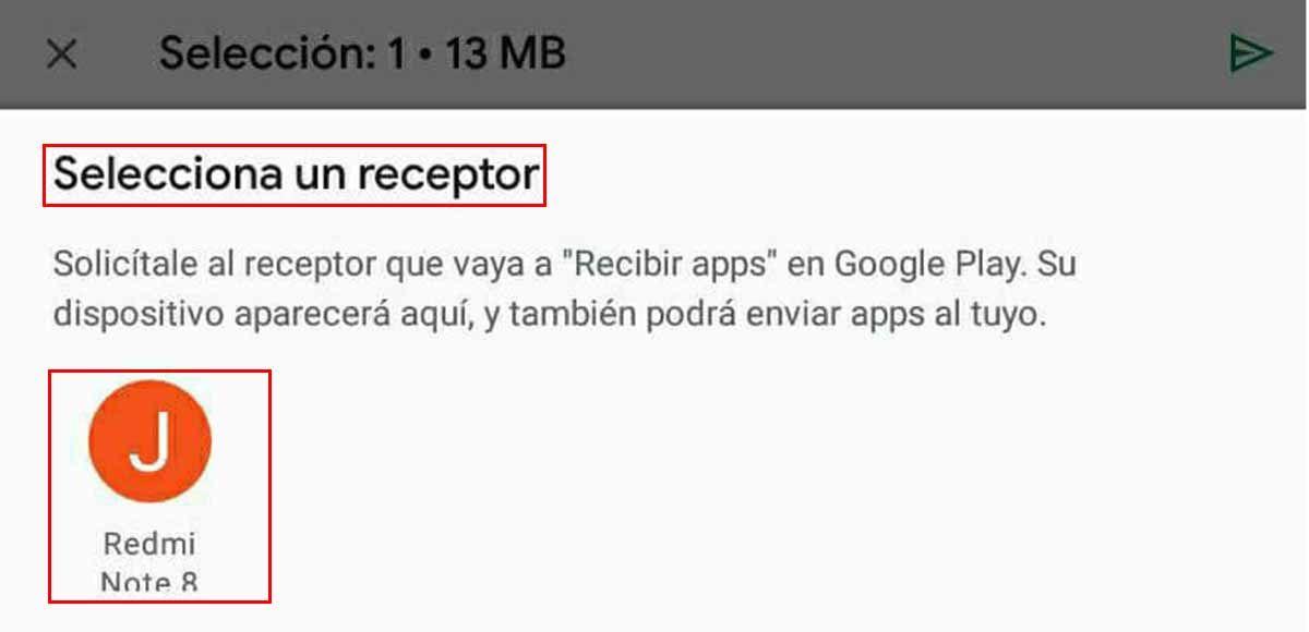 Aviso para seleccionar un receptor de las apps con el ícono disponible