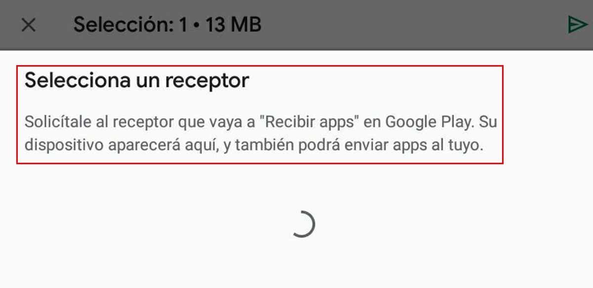 Aviso para seleccionar un receptor de las apps