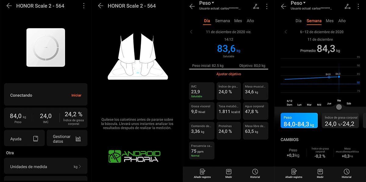 Báscula en la app Huawei Salud
