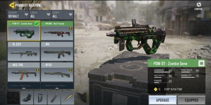 Battle Royale Call of duty Mobile PDW 57