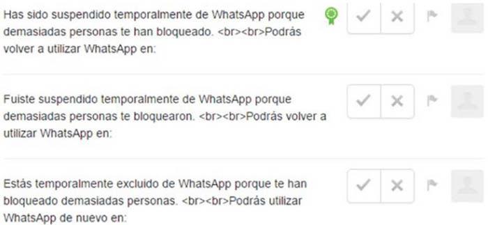 Bloqueado o suspendido temporalmente en WhatsApp