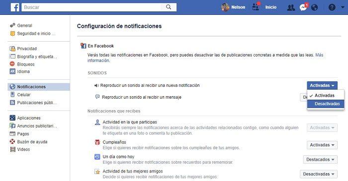Bloquear notificaciones Facebook escritorio