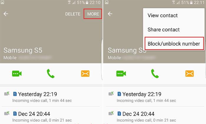 Bloquear numero de celular en Samsung