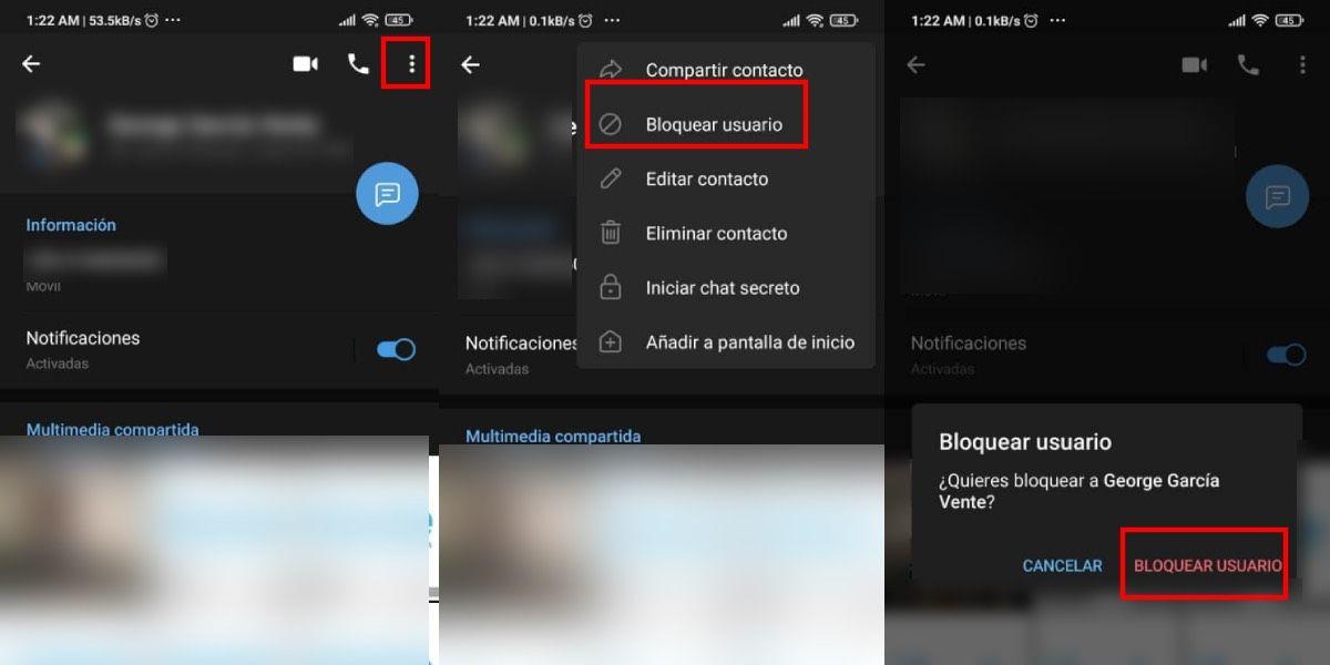 Bloquear un contacto en Telegram