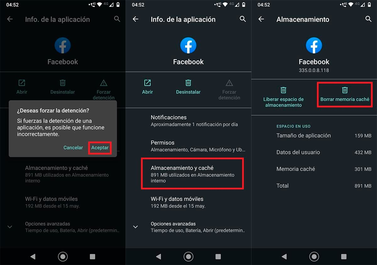 Borrar cache Facebook app Android