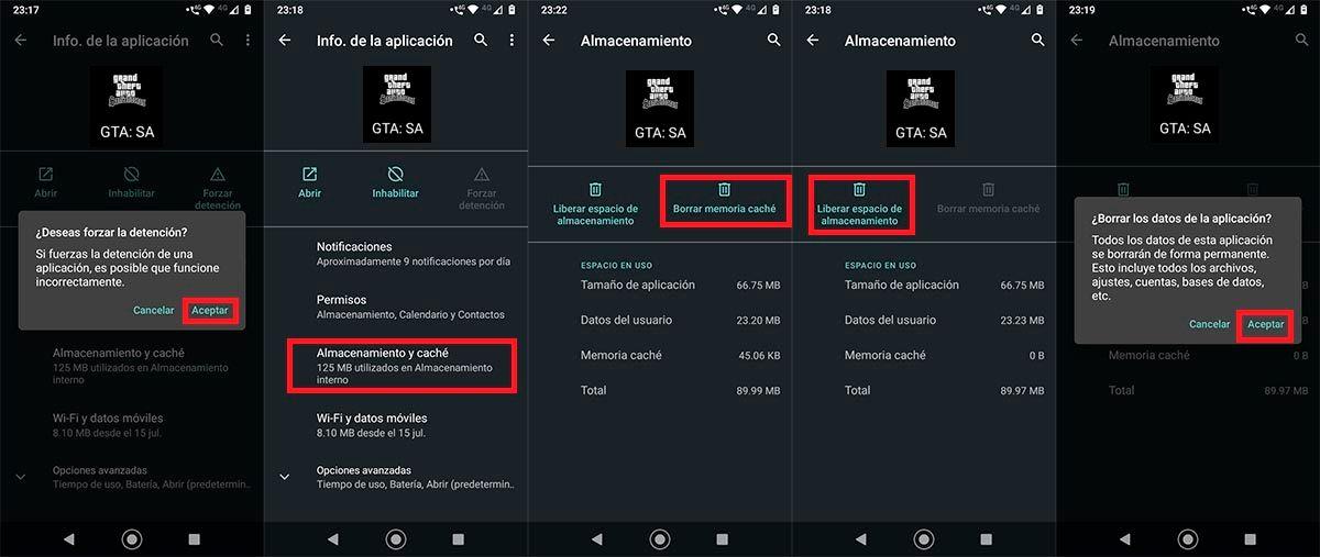 Borrar cache GTA San Andreas Android