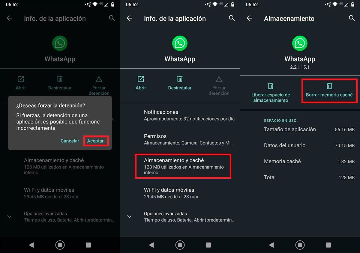 Borrar cache WhatsApp Android