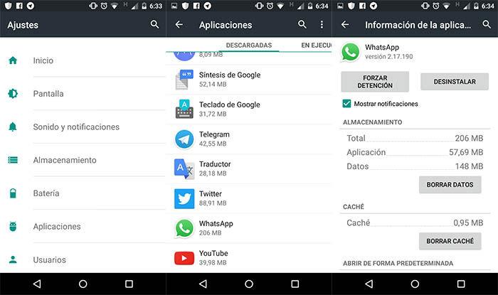 Borrar cache de WhatsApp