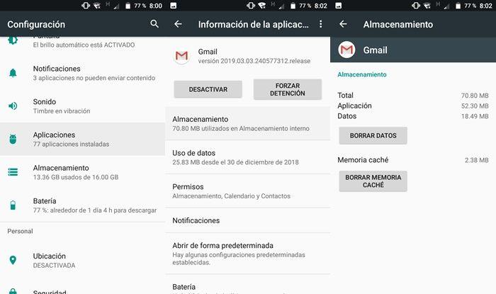 Borrar cache de la app Gmail en Android
