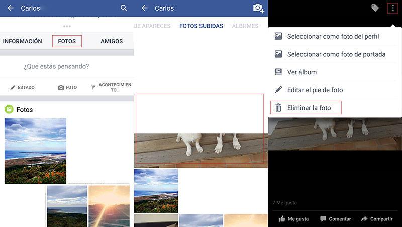 Borrar foto Facebook movil