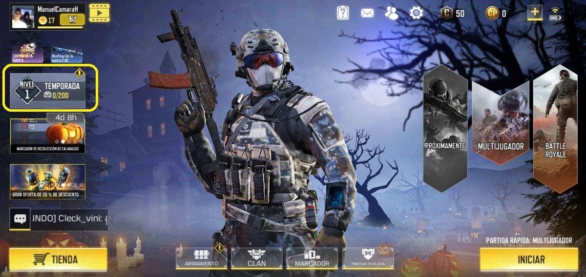 Boton de Eventos Call of Duty Mobile