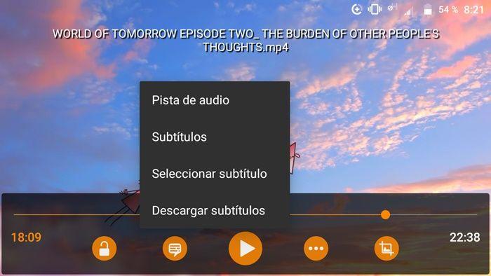 Botón subtítulos en el panel de reproducción