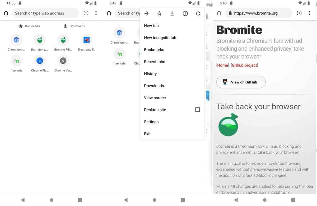 Bromite app código libre Android