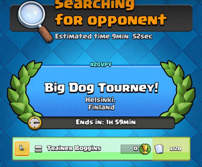 Buscando oponente torneo Clash Royale