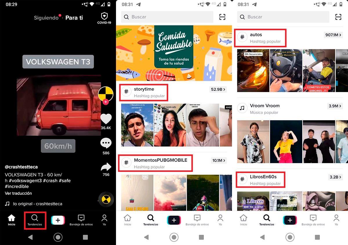 Buscar hashtags populares en TikTok