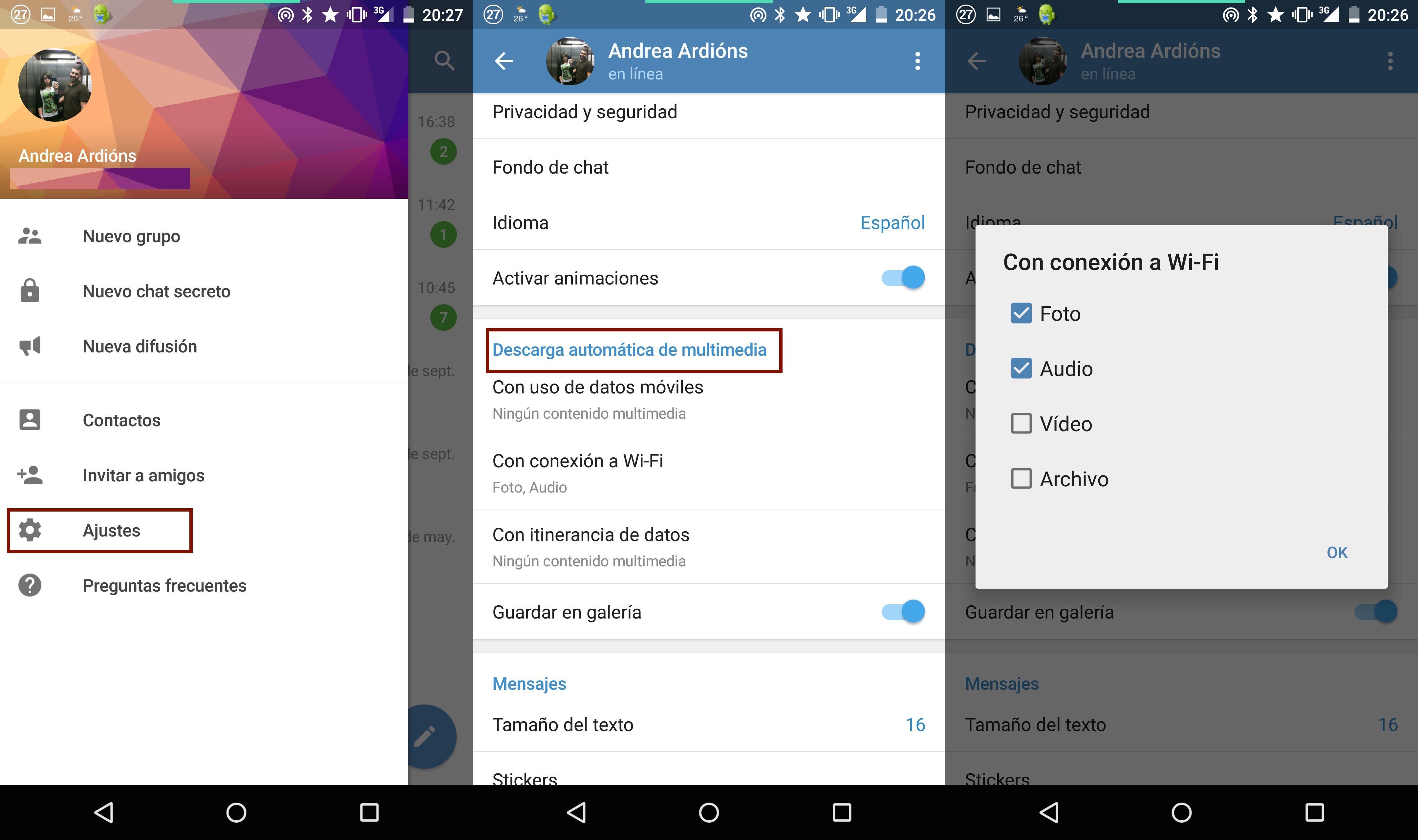Cómo desactivar la descarga automática de multimedia en Telegram