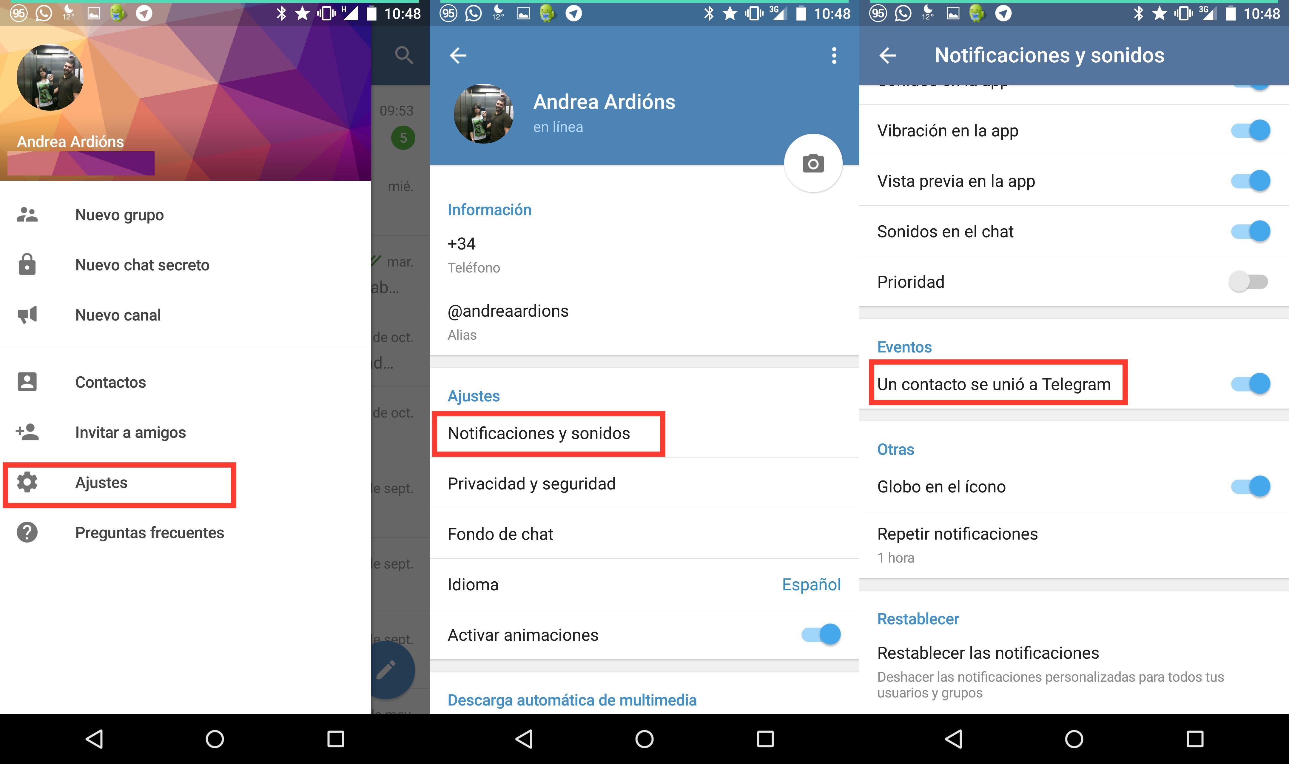 Cómo eliminar la notificación de un contacto se unió a Telegram
