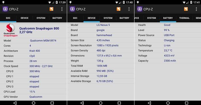 CPU-Z app verificar componentes movil