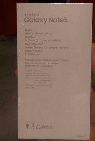 Caja del Galaxy Note 5 especificaciones