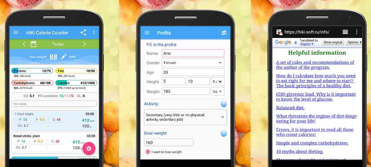 Calculadora de calorías Hiki app Android