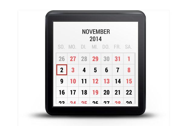 Calendario para Android Wear gratis