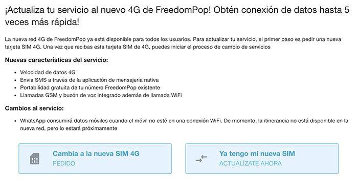 Cambiar SIM 4G Freedompop