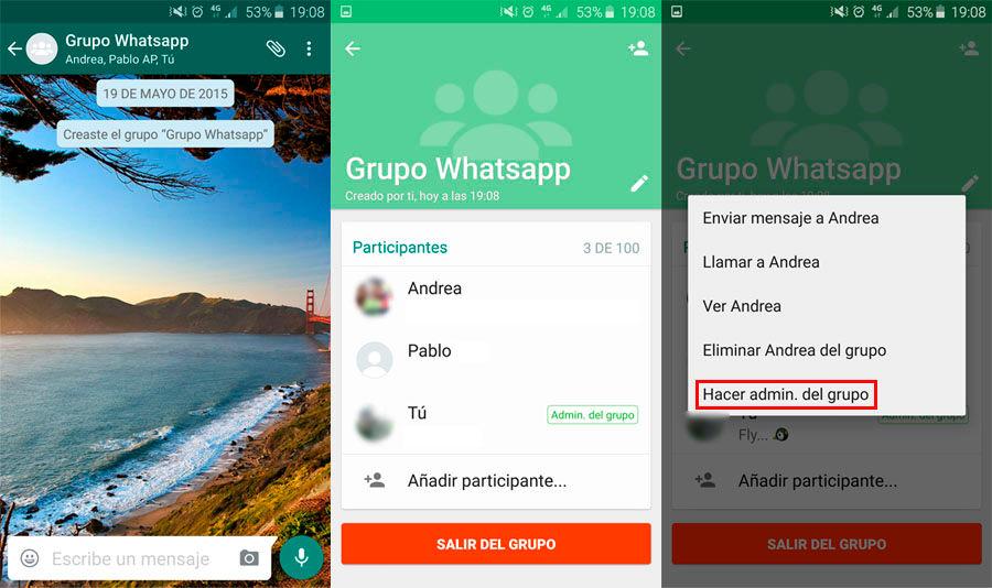 Cambiar administrador grupo WhatsApp