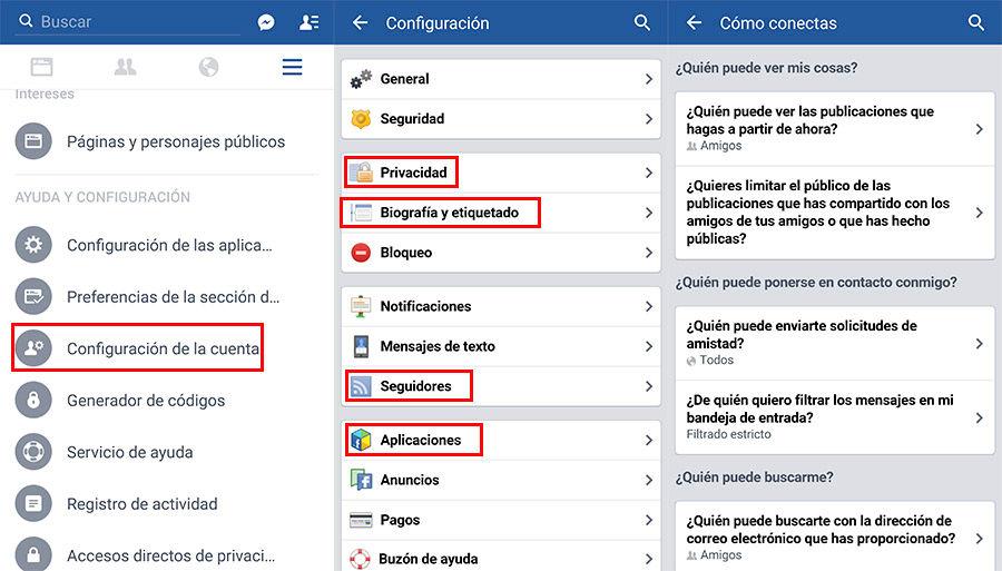 Cambiar ajustes privacidad en Facebook