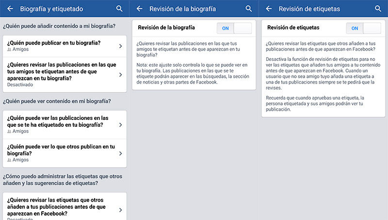 Cambiar ajustes timeline en Facebook