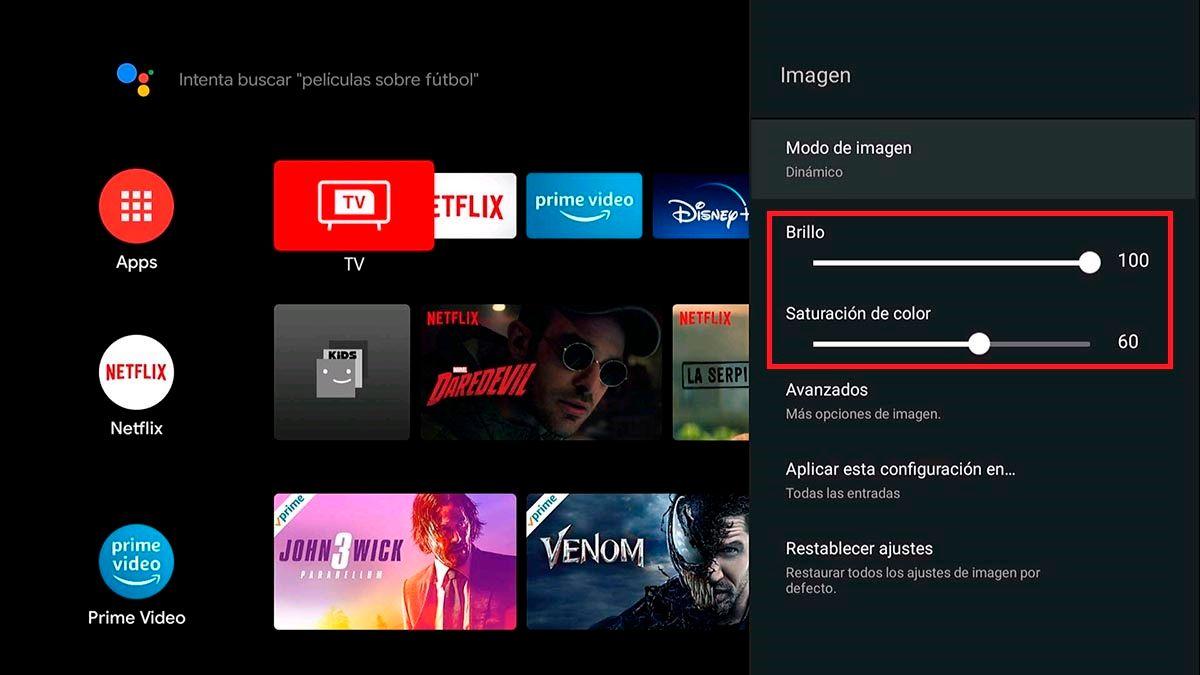 Cambiar brillo y saturacion de color TCL Android TV