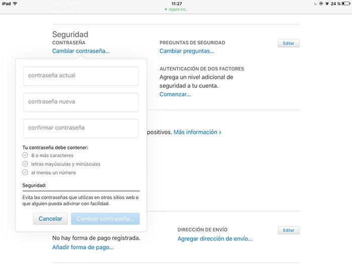 Cambiar contrasena Apple ID 11