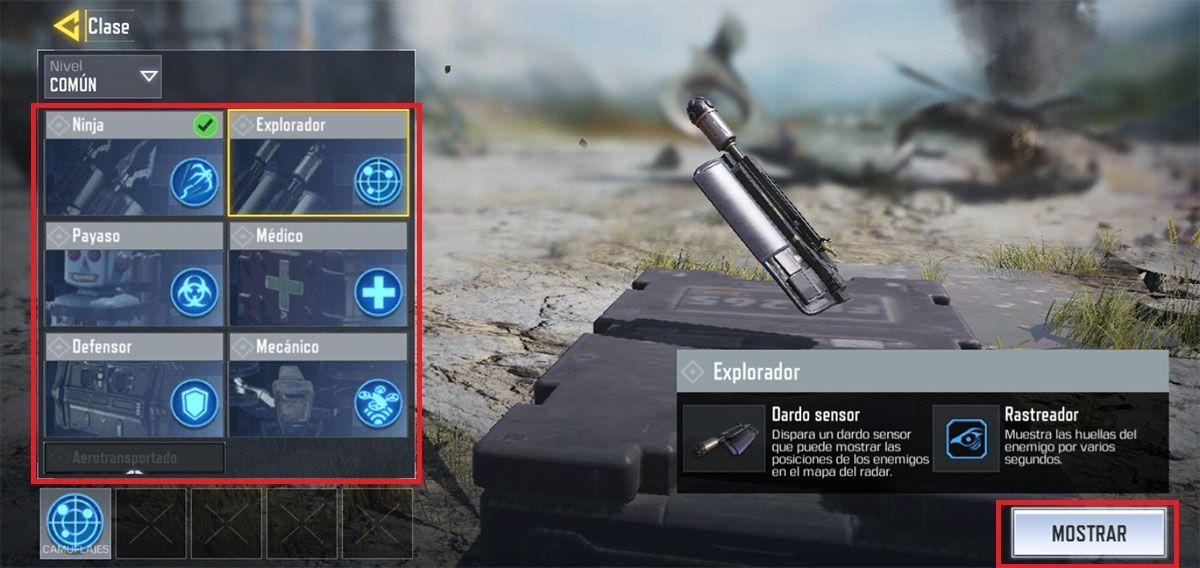 Cambiar de clase Battle Royale COD Mobile paso 3