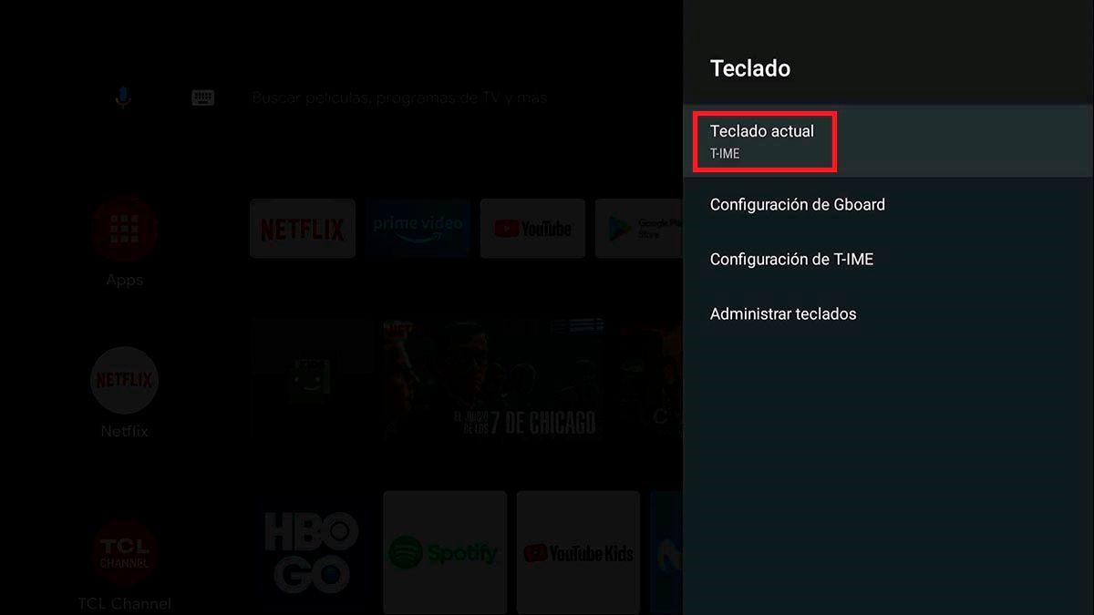 Cambiar de teclado Android™ TV