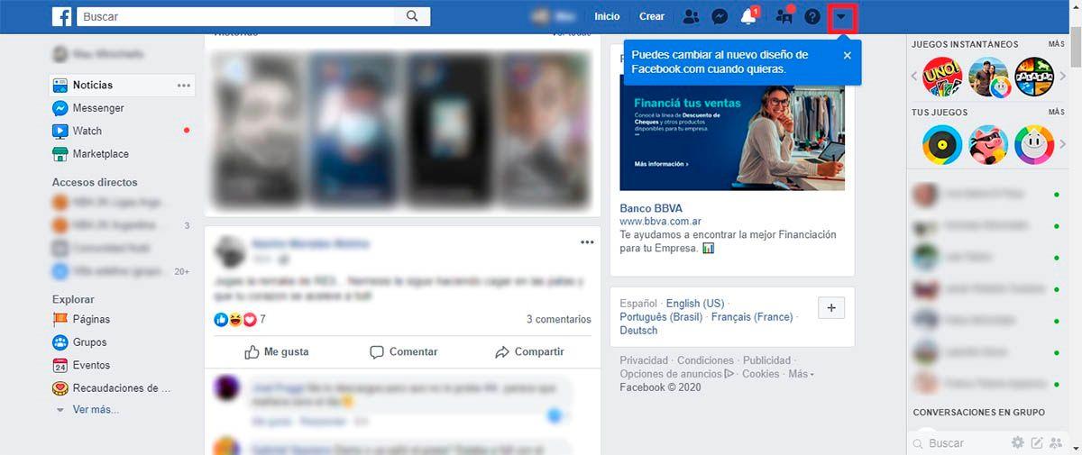Cambiar el diseno viejo Facebook