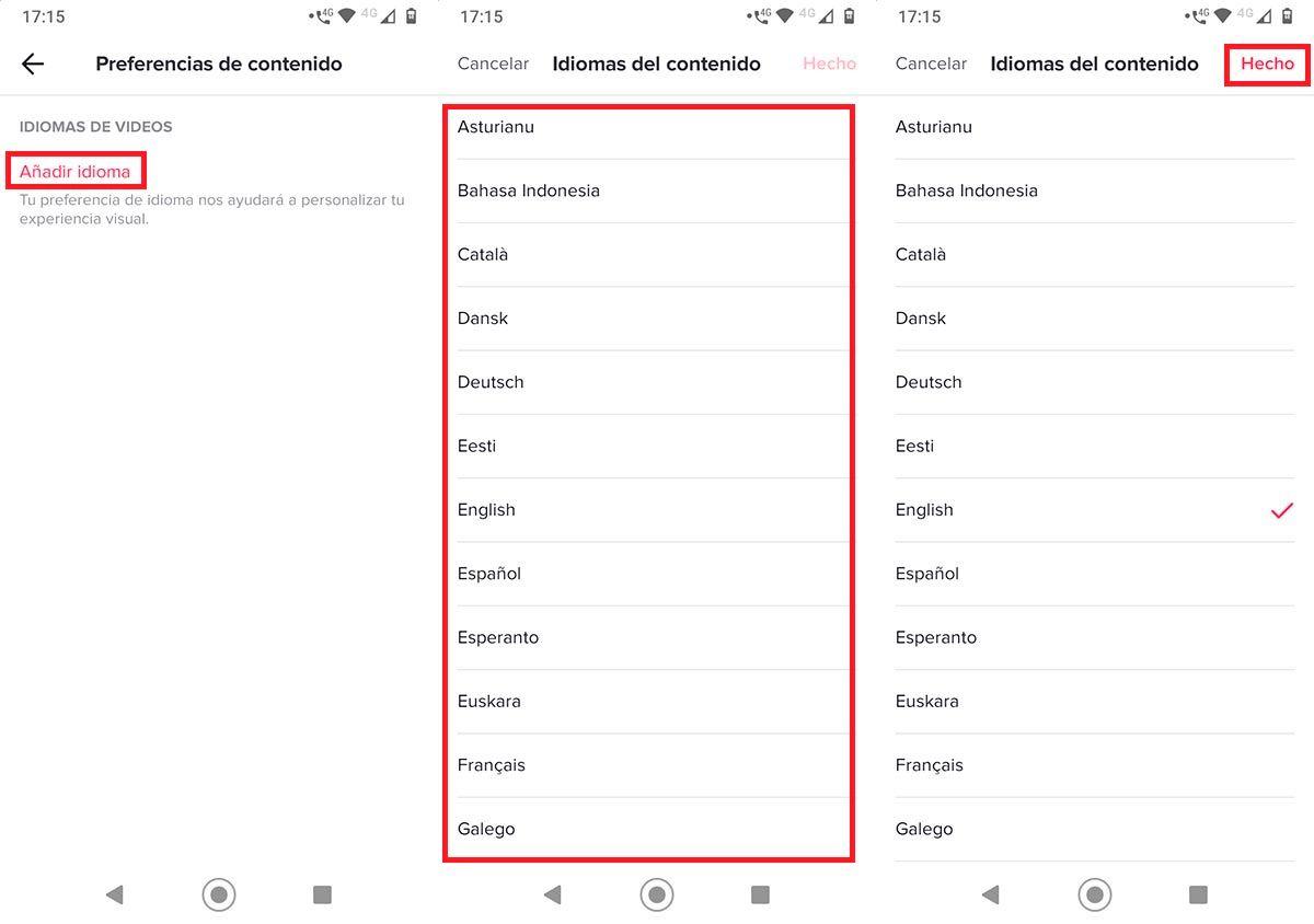 Cambiar el idioma del contenido TikTok