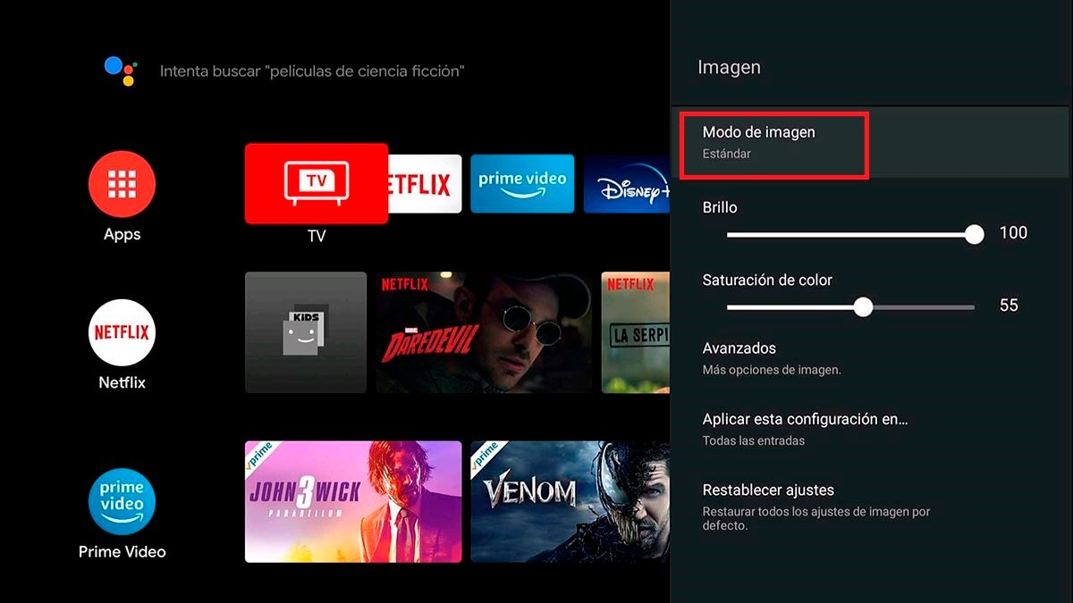 Cambiar el modo de imagen TCL Android TV