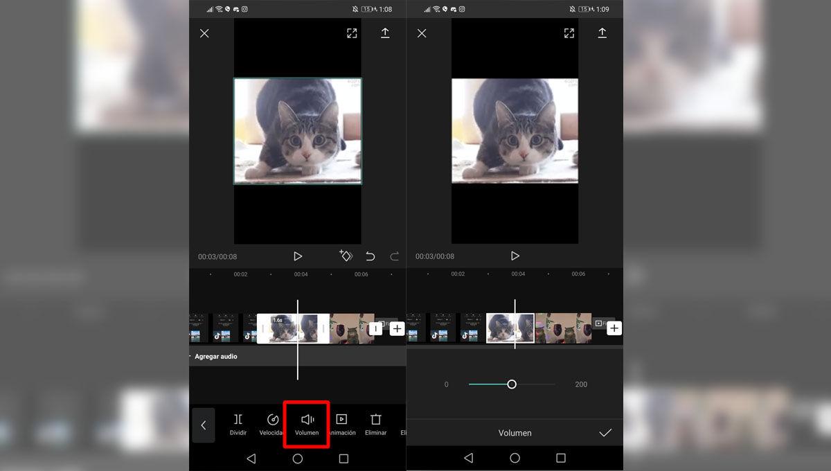 Cambiar el volumen de tu video edit para TikTok con CapCut