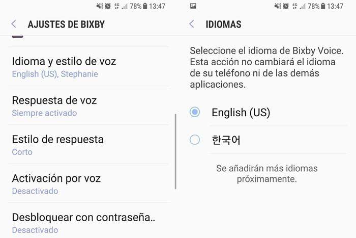Cambiar idioma Bixby