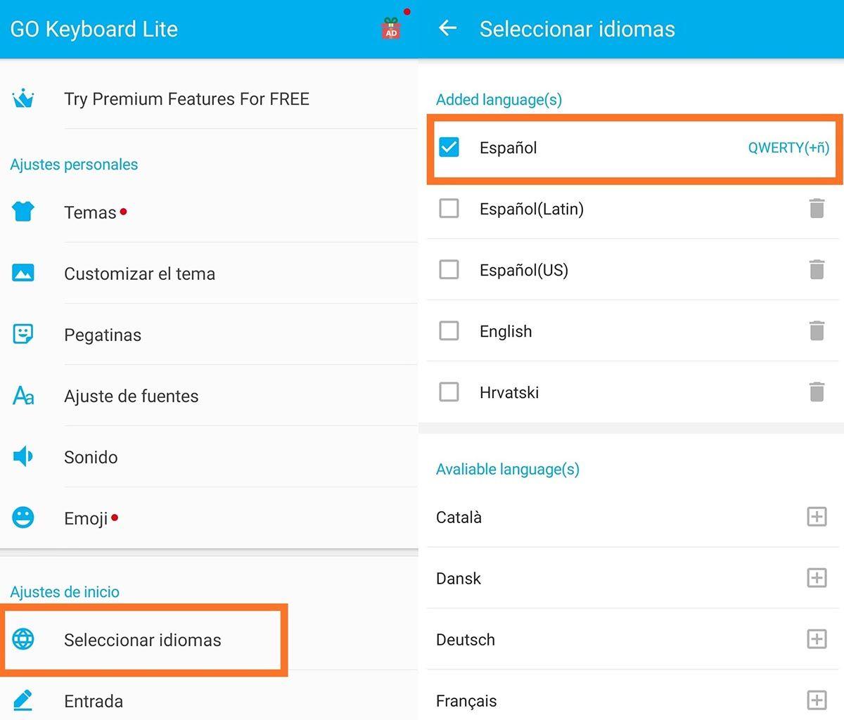 Cambiar el idioma en GO Teclado Lite
