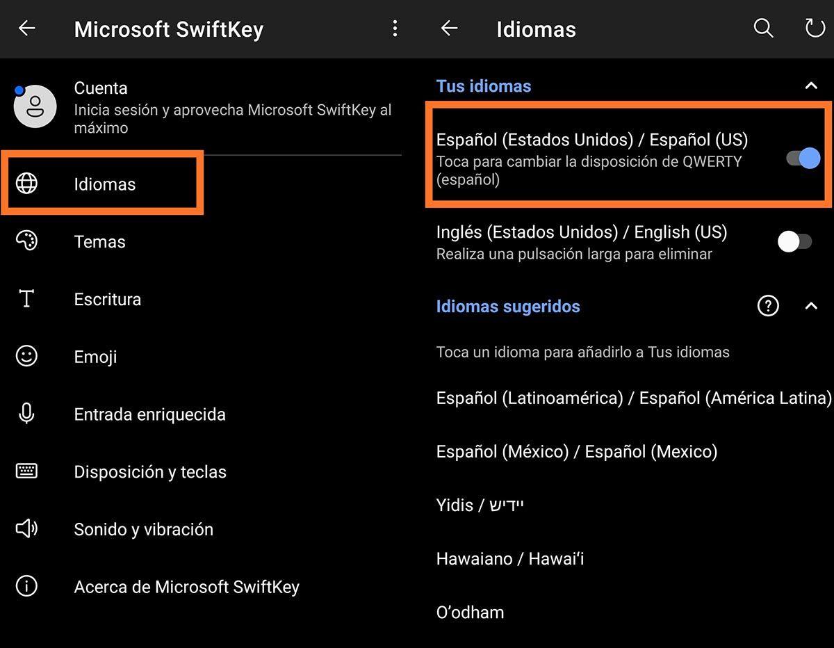 Cambiar idioma en el teclado Microsoft Swiftkey