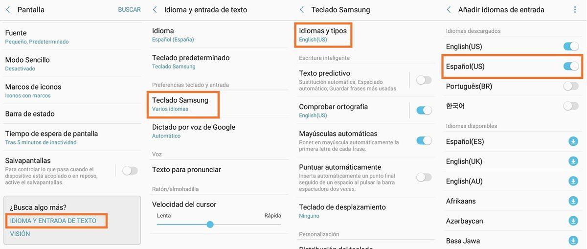Cambiar el idioma en el teclado Samsung