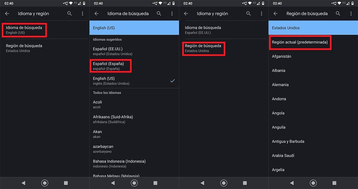 Cambiar idioma y region app Google Android