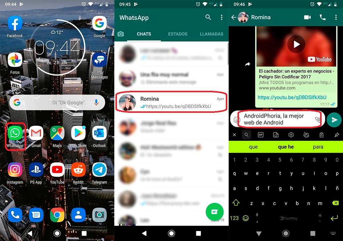 Cambiar la fuente en los mensajes de WhatsApp paso 1