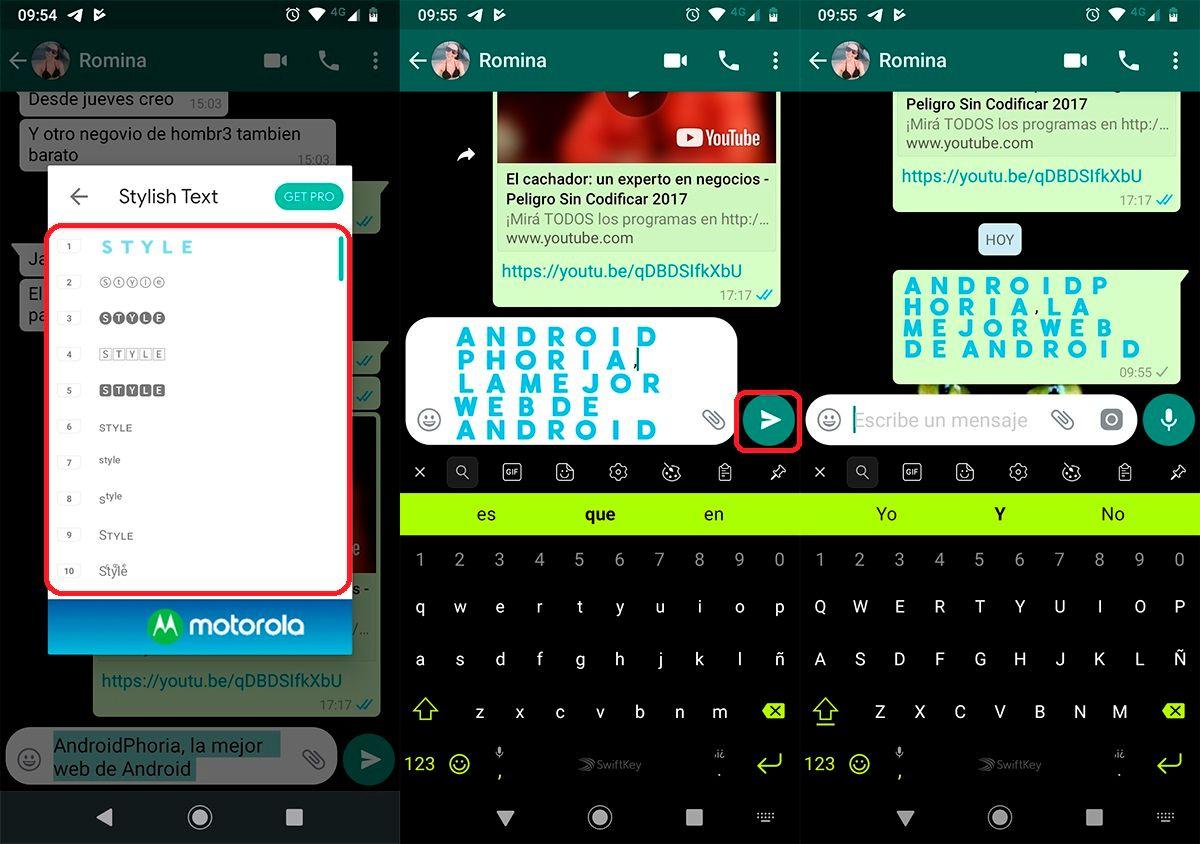 Cambiar la fuente en los mensajes de WhatsApp paso 3