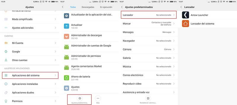 Cambiar launcher Xiaomi MIUI