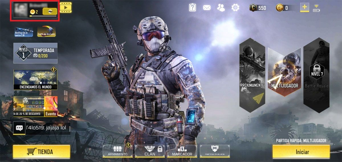 Cambiar nombre Call of Duty Mobile Paso N1