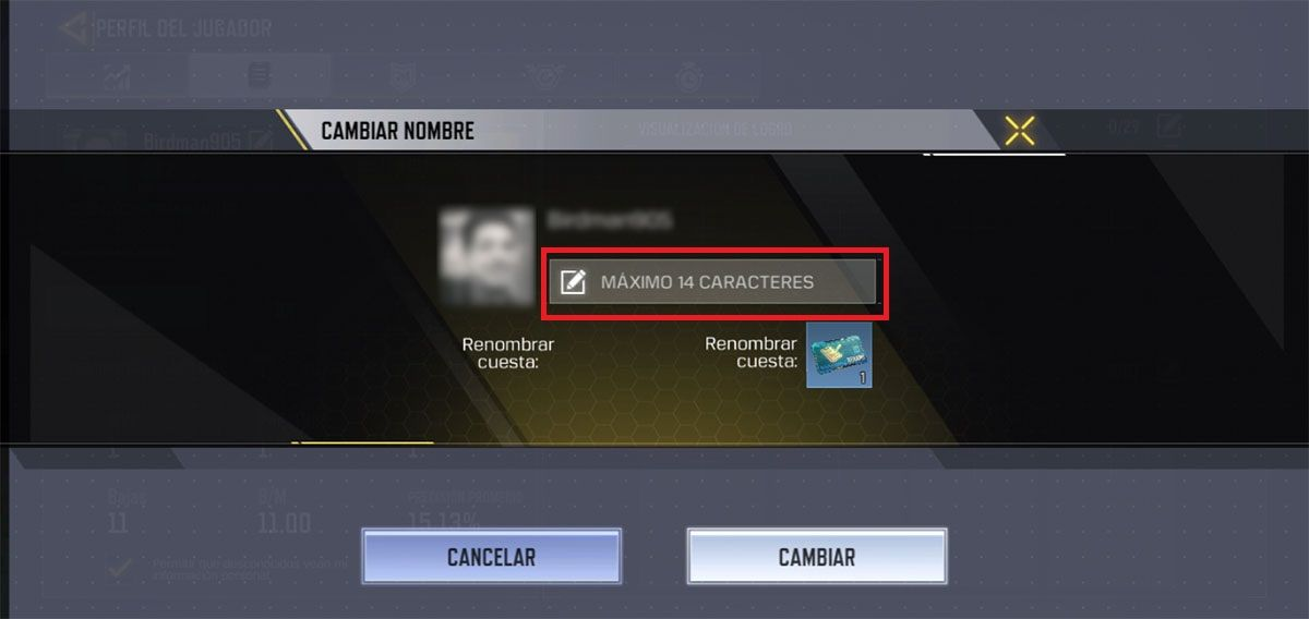 Cambiar nombre Call of Duty Mobile Paso N4