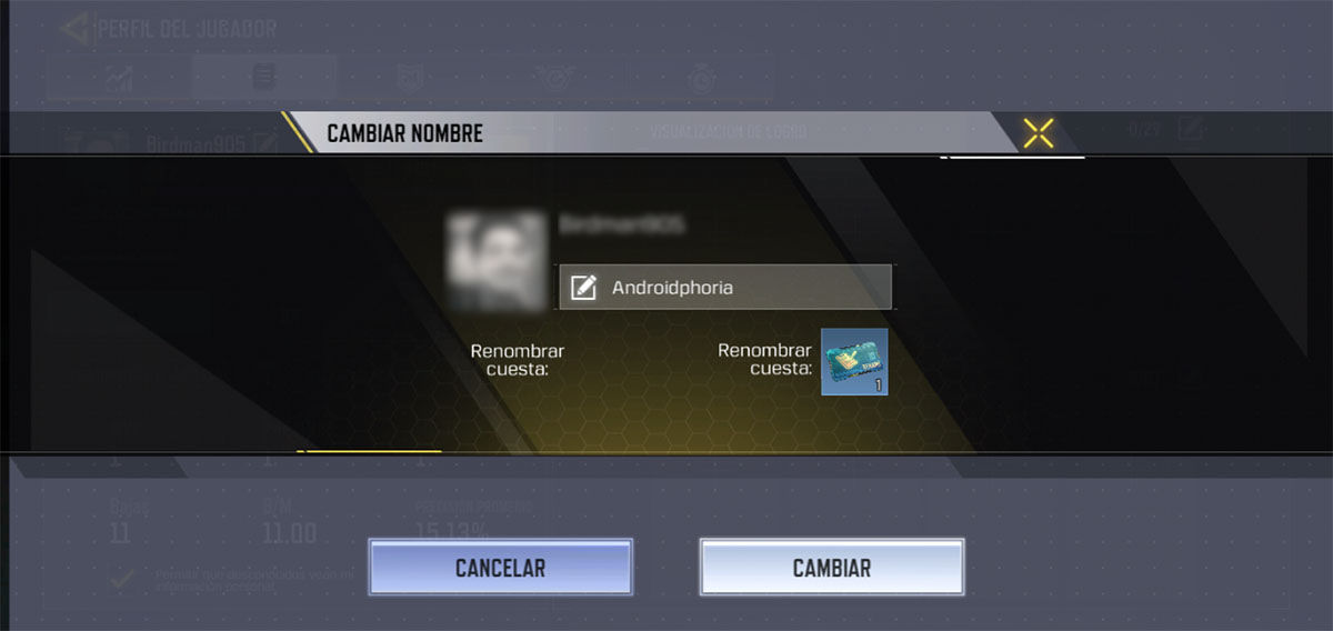 Cambiar nombre Call of Duty Mobile Paso N5