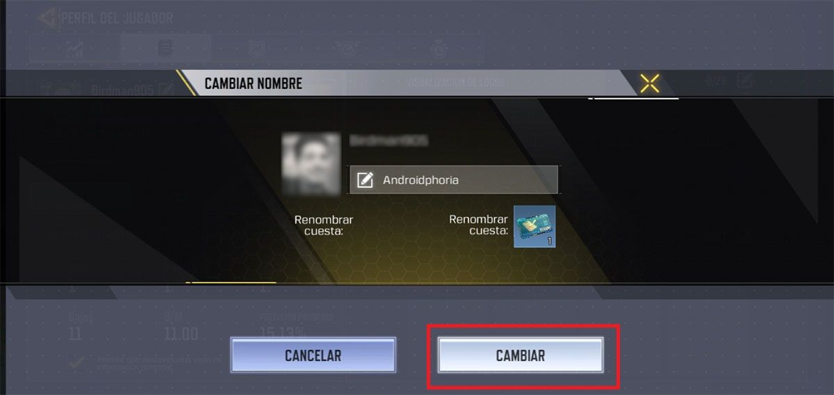 Cambiar nombre Call of Duty Mobile Paso N6